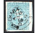 SG20. 1855 4c Pale blue. Superb used with large to massive margi