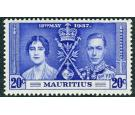 SG251b. 1937 20c Bright blue. 'Line by sceptre'. Superb fresh mi