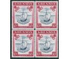 SG163d. 1944 10/- Slate-blue and carmine lake. U/M block of 4...