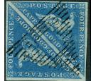 SG2. 1853 4d Deep blue. Superb used pair on amazingly deeply blu