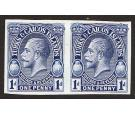 1928. 1d Imperforate Plate Proof in Blue. Brilliant fresh pair..