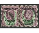 SG O103. 1903 1 1/2d Dull purple and green. Super used pair...