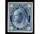 1897 5c Deep blue. Plate proof on card. Superb fresh...