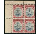 SG163. 1938 10/- Steel blue and carmine. Superb U/M mint block o