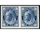 1897 5c Deep blue. Plate proof pair on card...