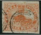 SG1. 1851 3d Red. 'Laid paper'. Superb fine used with excellent
