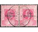SG17. 1907 1/2d on 1d Carmine. Exceptional used pair...