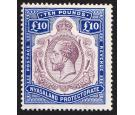 SG99e Variety. 1919 £10 Purple and royal blue. 'Nick in top righ