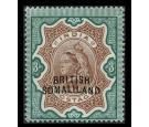 SG23b. 1911 3r Brown and green. 'Curved overprint'. Brilliant U/