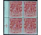 SG68. 1914 10/- Red/green. Brilliant fresh mint block of 4...
