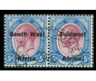 SG38. 1926 5/- Purple and blue. Superb fine used pair...