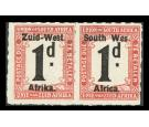 "SG D7a. 1923 1d Black and rose. Rouletted. ""WES"" for ""WEST"". sup"