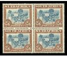 SG49b. 1944 2/6 Blue and brown. Brilliant fresh U/M mint block..