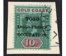 SG H57. 1916 10/- Green and red/green. Brilliant fine used on pi