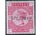SG180s. 1883 5/- Rose. 'SPECIMEN'. Superb fresh mint...