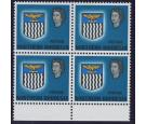 SG88a. 1963 20s Blue. 'Value Omitted'. Brilliant U/M block...