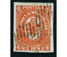 SG14. 1860 6d Orange-vermilion. Exceptionally fine used with lar