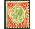 SG67. 1919 5/- Green and red/yellow. Brilliant freh U/M mint...