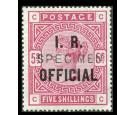 SG O8s. 1884 5/- Rose. Blued paper. 'SPECIMEN'. Superb fresh min