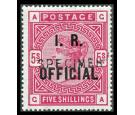 SG O9s. 1890 5/- Rose. 'SPECIMEN'. Superb fresh mint...