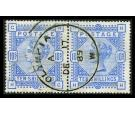 SG183. 1884 10/- Ultramarine. Attractive used pair with 'OLYMPIA