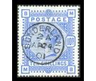 SG183. 1884 10/- Ultramarine. Brilliant fine well centred used w