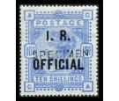 SG O10s. 1890 10/- Ultramarine. 'SPECIMEN'. Superb fresh well ce