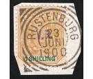 SG7. 1900 1/- Ochre and green. Brilliant fine used on piece...