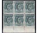 SG49. 1904 3/- Grren. Brilliant fresh U/M mint block of 6...