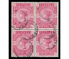 SG180. 1884 5/- Rose. Superb well centred used block of four...