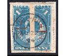 SG58. 1894 1/2 on half of 1d Pale blue. 'Bisect'. Two very...