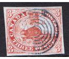 SG1. 1851. 3d Red 'Laid Paper'. Brilliant fine used with blue..
