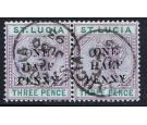 "SG56e. 1891 1/2d on 3d Dull mauve and green. Small ""A"" in ""HALF"""