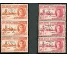SG78s-79s. 1946 Set of 2. 'SPECIMEN'. U/M strips of 3...