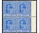 SG73w. 1907 2 1/2d Ultramarine 'Watermark Inverted' block.