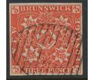 SG1. 1851 3d Bright red. Superb used, brilliant colour...