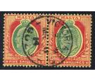 SG63. 1911 5/- Green and red/yellow. Superb fine used pair...