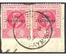 SG17. 1907 1/2d on 1d Carmine. Superb used pair...