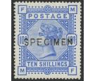 SG183s. 1884 10/- Ultramarine. 'Specimen'. Superb fresh...