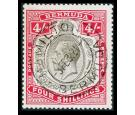 SG52bb. 1918 4/- Black and carmine. 'Broken crown and scroll'. S