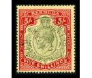 SG53d. 1920 5/- Green and carmine-red/pale yellow. Superb fine u