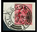 SG O37. 1902 1d Scarlet. Superb fine used on piece...