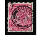 SG181. 1884 5/- Crimson. Very fine used with 'GUILDFORD' c.d.s..