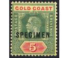 SG82as. 1916 5/- Green and red/yellow. 'SPECIMEN'. Superb fresh