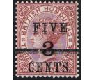 "SG49b. 1891 5c on 3c on 3d Red-brown. ""FIVE"" and bar double. Bri"