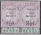 SG59 and 62. 1897 2 1/2d on 6d Dull purple and green. Brilliant