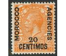 SG146a. 20c on 2d Orange. 'Surcharge double, one albino'. Mint..