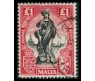 SG140. 1925 £1 Black and bright carmine. Exceptionally fine used