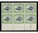 SG9. 1901 1/2d Black and yellow-green. U/M marginal block of 6..