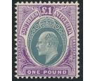 SG32ab. 1907 £1 Green and violet. Superb mint with beautiful...